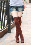 Hot sale fashion long boots for women Nubuck Leather sexy Stovepipe long boots Over the Knee high heels women boots size 34-43-Women's Shoes-Enso Store-brown for winter-4.5-Enso Store