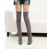 Hot sale fashion long boots for women Nubuck Leather sexy Stovepipe long boots Over the Knee high heels women boots size 34-43-Women's Shoes-Enso Store-gray-4.5-Enso Store