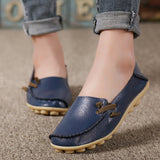 Hot Sale Genuine Leather Women Shoes 2017 Fashion Lace up Casual Flat Shoes Peas Non-Slip Outdoor Shoes Plus Size 34 -44-Women's Shoes-Enso Store-Dark Blue-6-Enso Store