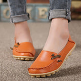 Hot Sale Genuine Leather Women Shoes 2017 Fashion Lace up Casual Flat Shoes Peas Non-Slip Outdoor Shoes Plus Size 34 -44-Women's Shoes-Enso Store-Orange-6-Enso Store