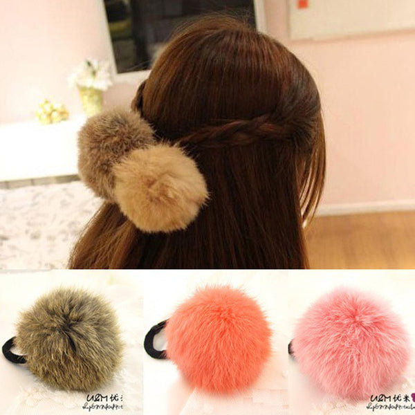 Hot Sale Korean Style Girls Cute Trendy Soft Fake Rabbit Fur Elastic Hair Rope Hair Band Hair Accessories-Women's Accessories-Enso Store-Rose Red-Enso Store