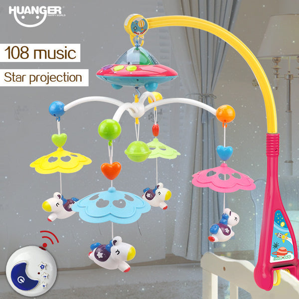 Huanger Musical Crib Mobile Bed Bell Baby Rattle Rotating Bracket Projecting Toys for 0-12 Months Newborn Kids Christening gift-Baby Toys-Enso Store-Enso Store