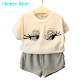 Humor Bear Girls Clothing Set Pearl Girls Clothes Set Lovely Long Eyelashes Toddler Girl tops + Pants Girls Suit Kids Clothes - EnsoStore