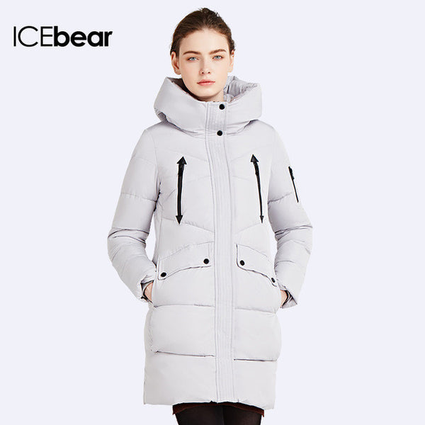 ICEbear 2016 100% Polyester Soft Fabric Bio Down Five Colors Hooded Coat Woman Clothes Winter Jacket With Pockets 16G6155D - EnsoStore