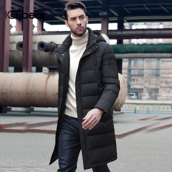 ICEbear New Clothing Jackets Business Long Thick Winter Coat Men Solid Parka Fashion Overcoat Outerwear - EnsoStore