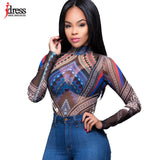 IDress Sexy Club Jumpsuits Lady Bodysuit Women Rompers Bodycon Jumpsuit Long Sleeve Mesh Bodysuit Sheer Trutleneck Bodysuits - EnsoStore
