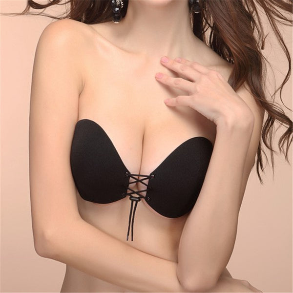 Invisible Silicone Bra Push Up Stick On Self Adhesive Front Lacing Bras Strapless For Women Lingerie Cup ABCD-Women's Bodysuit-Enso Store-Black-S-Enso Store