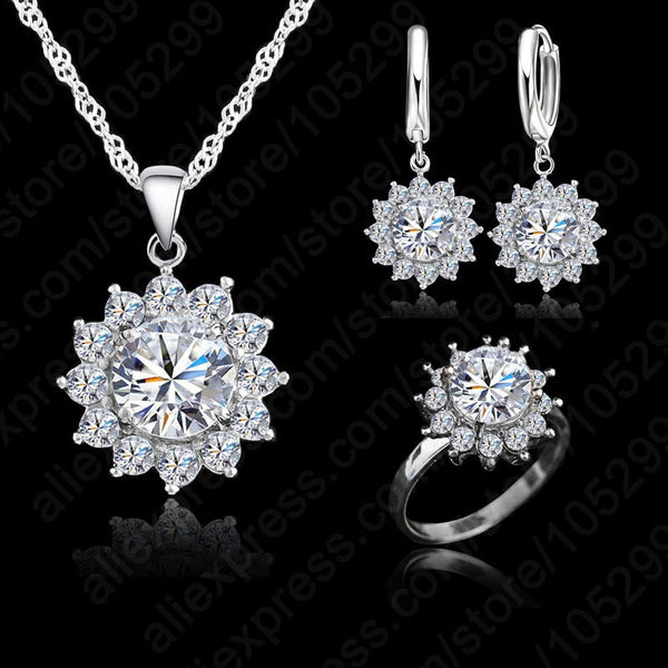 JEXXI Top Quality Austrian Crystal 925 Sterling Silver Bridal Wedding Jewelry Set For Women Cubic Zirconia Jewellery Sets 3Pcs-Wedding & Engagement-Enso Store-Size 6-Enso Store