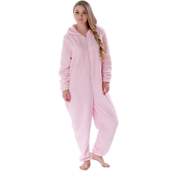 1723304bc2a2 JUICE MATE Plus Size Fluffy Fleece Pyjama Onesie Pink Hot Pink Cream S –  Enso Store