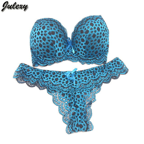 Julexy Gold Leopard Temptation Lace Thongs Women Bra Set Intimate Plus Size ABC Push Up Bra Brief Sets Sexy Underwear Panty Set-Women's Bras and Brief Set-Enso Store-Sky Blue-34A or 75A-Enso Store