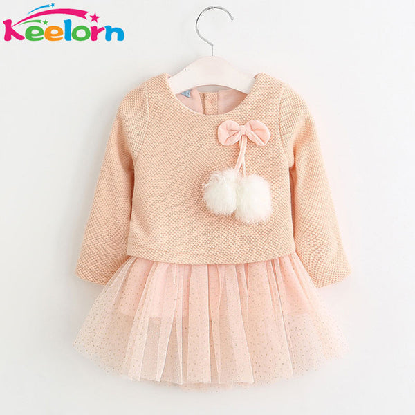 Keelorn Baby Girl Dress 2017 New Casual Autumn Baby Clothes Long Sleeve Plaid Bear Straps Fake Two Piece Dress baby girl clothes-Baby Girls Clothing-Enso Store-Khaki-9M-Enso Store