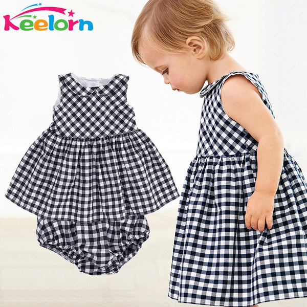 Keelorn Baby Girls Dress 2017 Casual Plaid Sleeveless Turn-down Collar Princess Dress + Plaid shorts 2pcs Kids Clothing Sets-Baby Girls Clothing-Enso Store-Black-6M-Enso Store