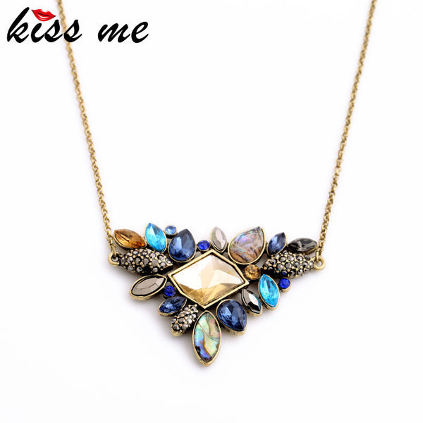 KISS ME Exquisite Rhinestone Pendant Necklace 2016 Wholesale Newest Fashion Thin Chain Collar Necklace Jewelry-Necklaces & Pendants-Enso Store-Enso Store