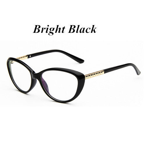 KOTTDO New Brand Women Optical Glasses Spectacle Frame Cat Eye Eyeglasses Anti-fatigue Computer Reading Glasses Eyewear Goggles-Women's Accessories-Enso Store-bright black-Enso Store