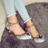 Krazing Pot 2017 New fashion brand shoes luxury big size flower pearl high heel women pumps party wedding crystal causal shoes-Women's Shoes-Enso Store-Blue-4-Enso Store