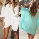 Lace Beach Cover up V-neck Bikini Cover Ups Beach Dress Women Swimsuit Covers up Beachwear 2016 Beach Tunic Bathing Suit Pareo-Women's Swimwear-Enso Store-CE009010-One Size-Enso Store