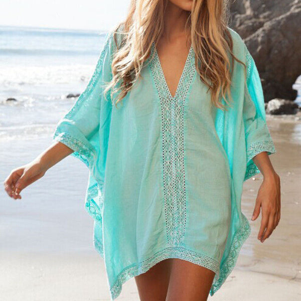 Lace Beach Cover up V-neck Bikini Cover Ups Beach Dress Women Swimsuit Covers up Beachwear 2016 Beach Tunic Bathing Suit Pareo-Women's Swimwear-Enso Store-CE009020-One Size-Enso Store