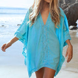 Lace Beach Cover up V-neck Bikini Cover Ups Beach Dress Women Swimsuit Covers up Beachwear 2016 Beach Tunic Bathing Suit Pareo-Women's Swimwear-Enso Store-CE009030-One Size-Enso Store