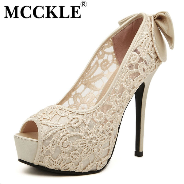MCCKLE Women's Sexy Hollow Out Platform Bowtie Pumps - EnsoStore