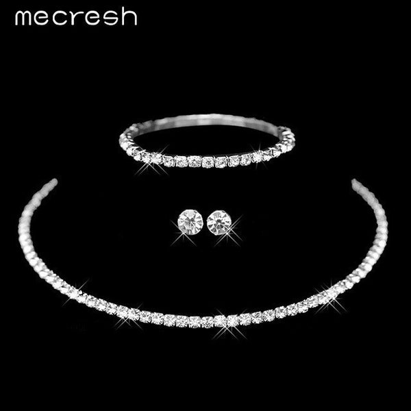 dabebbc1561ee Mecresh Silver Color Circle Crystal Bridal Jewelry Sets African Beads  Rhinestone Wedding Necklace Earrings Bracelet Sets 3TL002