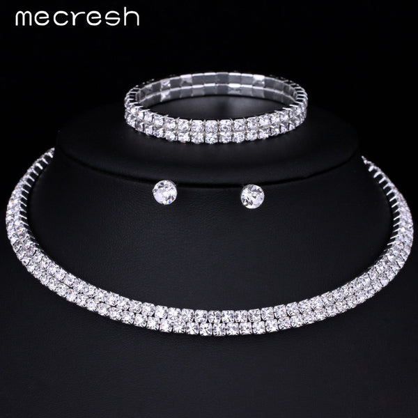 Mecresh Silver Color Circle Crystal Bridal Jewelry Sets African Beads Rhinestone Wedding Necklace Earrings Bracelet Sets 3TL002 - EnsoStore