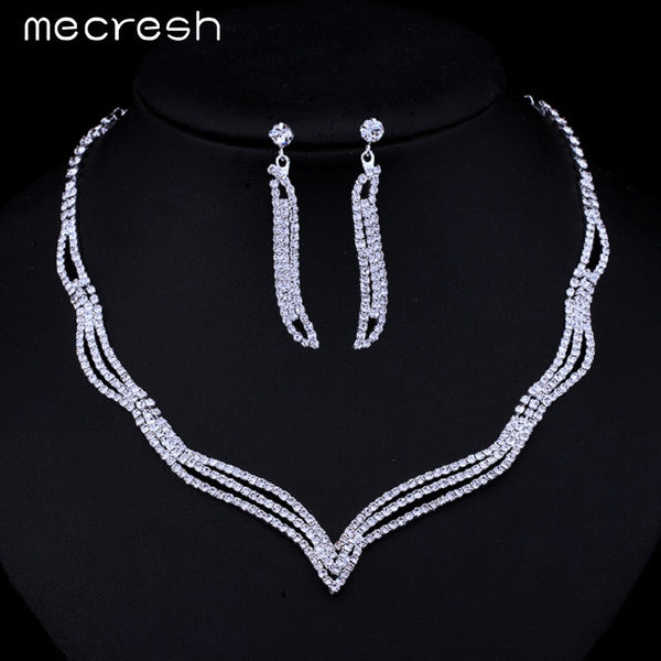 Mecresh Simple Crystal Bridal Jewelry Sets Silver Color Rhinestone Earrings Necklace Sets for Women Wedding Accessories TL296 - EnsoStore