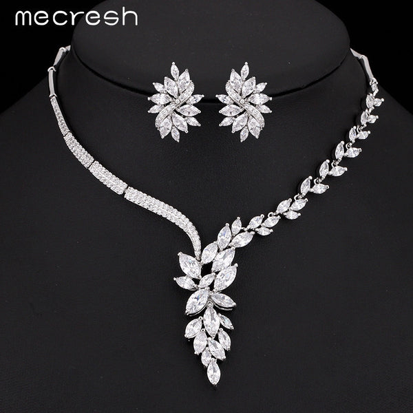 Mecresh Top Cubic Zirconia Bridal Jewelry Sets Silver Color Flower Necklace Earrings Sets Wedding Accessories TL335 - EnsoStore