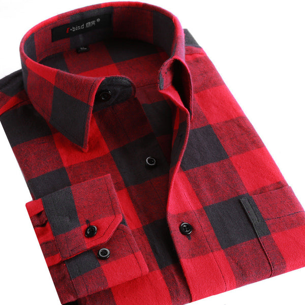 Men Flannel Plaid Shirt 100% Cotton Spring Autumn Casual Long Sleeve Shirt Soft Comfort Slim Fit Styles Brand Man Clothes - EnsoStore