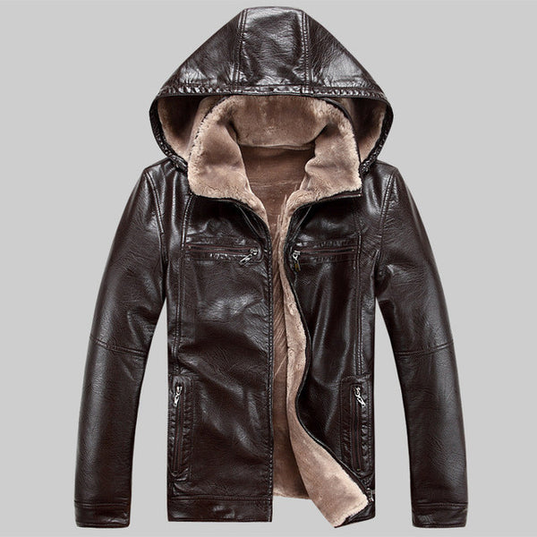 Men PU leather jackets New brand plus velve casual mens leather jackets and coats,Hat Detachable Winter warm - EnsoStore