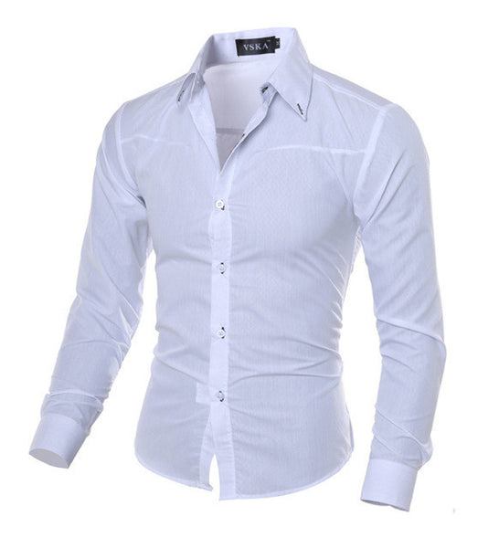 Men Shirt New Arrival Male Solid Color Mandarin Collar Business Long Sleeve Casual Shirt Cotton Dress Shirts M-5XL - EnsoStore