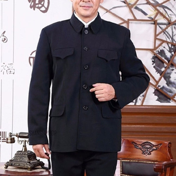 Men Single Breasted Mao Jacket Vintage Tunic Blazer Coat Zhongshan Slim Fit New - EnsoStore