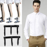 Mens Shirt Stays Garters Elastic Nylon Adjustable Shirt Holders Crease-Resistance Belt Stirrup Style Suspenders-Men's Accessories-Enso Store-E WHITE-Enso Store
