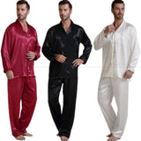 Mens Silk Satin Pajamas Set Pajama Pyjamas Set PJS Set Sleepwear Loungewear Perfect Gifts-Enso Store-Black-XXL-Enso Store