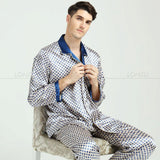 Mens Silk Satin Pajamas Set Pajama Pyjamas Set Sleepwear Loungewear M,L,XL,XXL,3XL-Men's Sleep & Lounge-Enso Store-Blue Happy-XXL-Enso Store