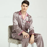 Mens Silk Satin Pajamas Set Pajama Pyjamas Set Sleepwear Loungewear M,L,XL,XXL,3XL-Men's Sleep & Lounge-Enso Store-Purple Grid-XXL-Enso Store