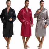 Men's Silk Satin Pajamas Sleepwear Robe Robes Bathrobe Nightgown S~3XL Big and Tall-Men's Sleep & Lounge-Enso Store-Black-XXL-Enso Store