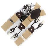 Men's suspenders casual Fashion braces High quality leather suspenders Adjustable 6 clip Belt Strap 7 colors-Men's Accessories-Enso Store-Beige-Enso Store