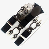 Men's suspenders casual Fashion braces High quality leather suspenders Adjustable 6 clip Belt Strap 7 colors-Men's Accessories-Enso Store-Black-Enso Store