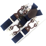 Men's suspenders casual Fashion braces High quality leather suspenders Adjustable 6 clip Belt Strap 7 colors-Men's Accessories-Enso Store-Blue-Enso Store