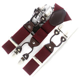 Men's suspenders casual Fashion braces High quality leather suspenders Adjustable 6 clip Belt Strap 7 colors-Men's Accessories-Enso Store-Red-Enso Store