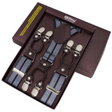Men's suspenders casual Fashion braces High quality leather suspenders Adjustable 6 clip Belt Strap 7 colors-Men's Accessories-Enso Store-Yellow-Enso Store