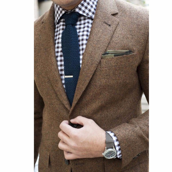 Mens Tweed Jacket Custom Made Brown Tweed Coat,Bespoke Tweed Mens Coat Herringbone Coats, Blazer Masculino, Herringbone Coat Men-Men's Suits & Blazers-Enso Store-Enso Store