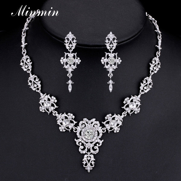Minmin Classic Crystal Bridal Jewelry Sets Silver/Gold-color Choker Necklace Earrings Sets Wedding Jewelry for Women MTL432-Wedding & Engagement-Enso Store-Gold Color-Clear-Enso Store