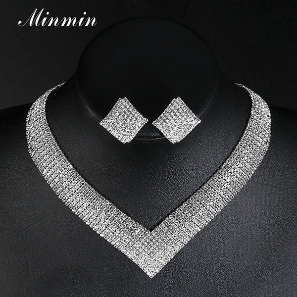 Minmin Classic Crystal Wedding Jewelry Sets 2017 Fashion Silver Color Geometric-Shape Rhinestone Necklace Set for Bridal MTL475-Wedding & Engagement-Enso Store-Enso Store