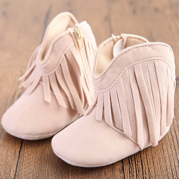 Moccasin Moccs Newborn Baby Girl Boy Kids Prewalker Solid Fringe Shoes Infant Toddler Soft Soled Anti-slip Boots Booties 0-1Yea-Baby Shoes-Enso Store-Model 1-1-Enso Store