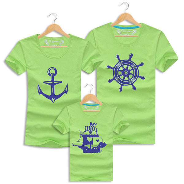 Mom and Daughter Matching Clothes Sailor Family Outfits T-shirt Summer Baby Mother Father Son Short Sleeve Print Tee Kid Costume-Family Matching Outfits-Enso Store-as picture-mom S-Enso Store