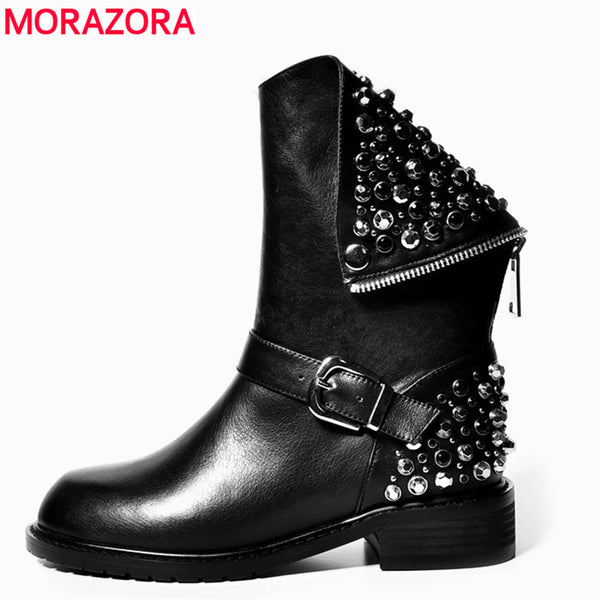 MORAZORA High quality PU + genuine leather boots rivets square heels autumn winter ankle boots sexy fur snow boots shoes woman-Women's Boots-Enso Store-Autumn not fur-4-Enso Store