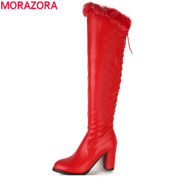 MORAZORA Knee high boots in winter solid elegant women boots med heels fashion boots large size 34-48 rabbit hair pu party-Women's Boots-Enso Store-Black-4-Enso Store