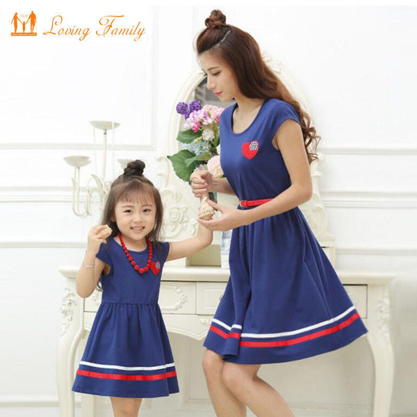 Mother Daughter Dresses with Belt and Necklace Family Clothing Mom Daughter Dress 2017 Summer style Girls Women Cotton Dresses-Family Matching Outfits-Enso Store-girl 2T-Enso Store