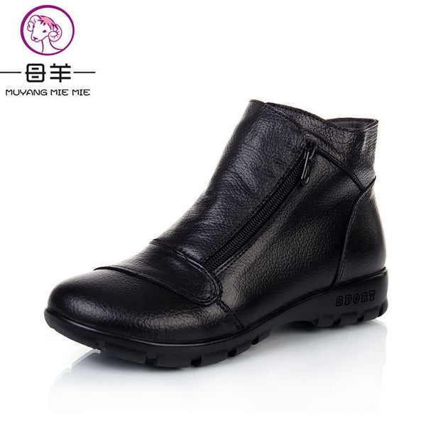 8406dbd0643 MUYANG MIE MIE Winter Snow Boots Women Genuine Leather Flat Ankle Boots  2017 New Women Shoes Woman Casual Warm Shoes Women Boots